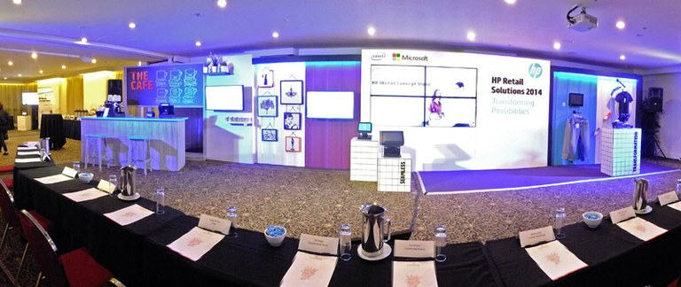 Custom stands with audio visual integration