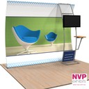 Portable tensioned fabric trade show display stand with TV and shelf
