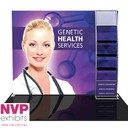 NVP Exhibits - Portable tensioned fabric trade show display stand with shelves for product displays