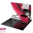 Portable display stand with TV and counter integration by NVP Exhibits