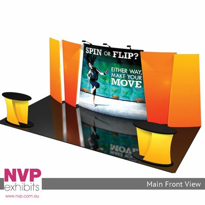 The Spin Fabric Trade Show Displays incorporates multi - layered graphics - available in Sydney, Melbourne and Brisbane.