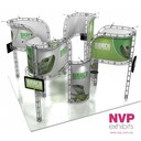 Island stand design of truss display system by NVP Exhibits