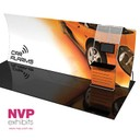 Tensioned fabric trade show displays with  detachable stand off TV and counter integrated by NVP Exhibits