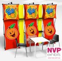 stretched fabric pop up display stand