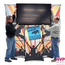 stretched fabric pop up display stand with monitor