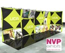stretched fabric pop up display stands