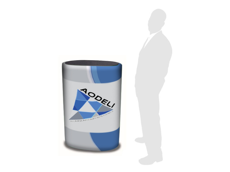 Case to Counter with graphics for Pop Up Displays